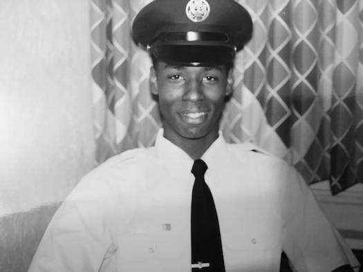 Then-Airman Kendall Briscoe smiles for a photo at basic military training in October 1989. Briscoe joined as an 18-year-old with a desire to move out of his mom's house and travel the world for a quick enlistment, but ended up spending 32 years in the service before retiring as a chief master sergeant. (Courtesy photo)