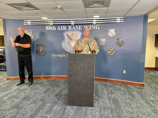 Col. Patrick Miller, 88th Air Base Wing and Installation Commander, discusses adjustments to Wright-Patterson Air Force Base's COVID-19 operating environment during a virtual town hall and situation update Aug. 4. U.S. AIR FORCE PHOTO/CHRISTOPHER WARNER