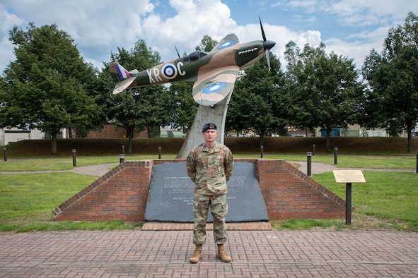 U.S. Air Force Master Sgt. Kevin Green, 48th Security Forces Squadron section chief of operations, poses for a photo at memorial park at Royal Air Force, Lakenheath, England, August 3, 2021. Green had previously helped a rider in a motorcycle crash near RAF Lakenheath and prolonged their life long enough for emergency services to arrive. (U.S. Air Force photo by Airman 1st Class Cedrique Oldaker)