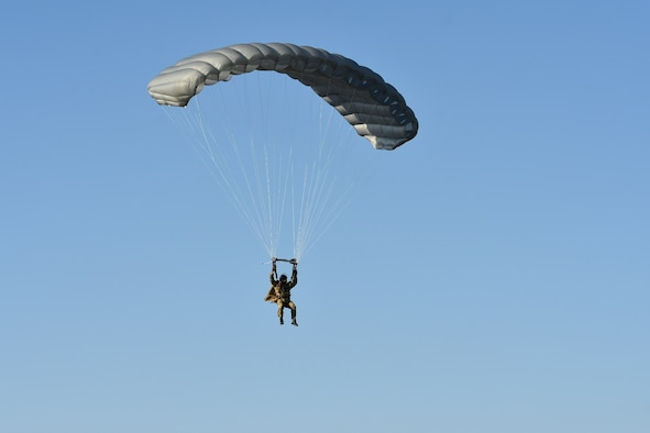 A Special Operations Airman from the 26STS jumped from a C-130 assigned to the 133rd Airlift Wing, Minnesota Air National Guard onto the Warrens and Badger Drop Zones at Fort McCoy, Wis., during a joint Close Air Support training mission on June 23, 2021.