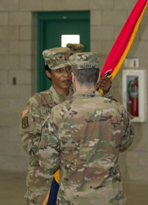 Col. John Joseph relinquished command of the 1st Brigade (Quartermaster) and welcomed Col. Antionette Chase as the new brigade commander on 16 May 2021, in a change of command ceremony. Soldiers of the 1st Brigade (Quartermaster), a down-trace unit of the 94th Training Division-Force Sustainment, gathered at the Maj. Gen. Charles C. Rogers U.S. Army Reserve Center for the ceremony. (Photo by Maj. Ebony Gay, 94th TD-FS Public Affairs Office)