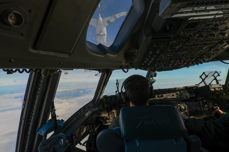 Capt. Wade Gallup, 7th Airlift Squadron pilot, approaches a KC-46 Pegasus during refueling training over central Wash., Jan. 30, 2019. With its multiple options the KC-46 can refuel Air Force, Navy, Marine Corps and partner nation aircraft. (U.S. Air Force photo by A1C Sara Hoerichs)
