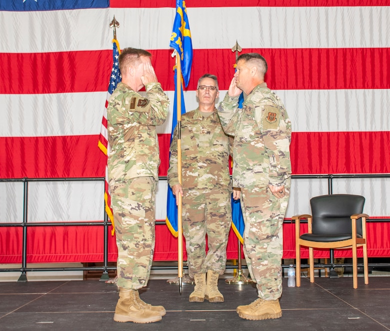 U.S. Air Force Lt. Col. William McLeod renders his first salute to Brig. Gen. Michael Schultz, 442d Fighter Wing Commander, after assuming command of the 442d Maintenance Group on Aug. 7, 2021 at Whiteman Air Force Base, Mo. (U.S. Air Force photo by Maj. Shelley Ecklebe)
