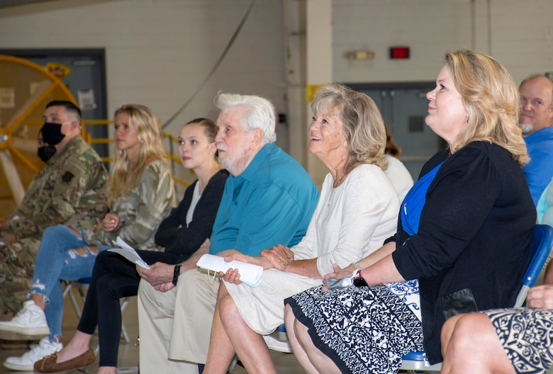 U.S. Air Force Lt. Col. McLeod's wife and mother listen to his assumption of command speech on Aug. 7, 2021 at Whiteman Air Force Base, Mo. (U.S. Air Force photo by Maj. Shelley Ecklebe)