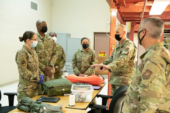 Wing leadership visited with Aircrew Flight Equipment reservists
