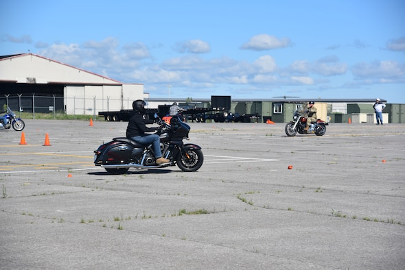 The 174th Attack Wing safety office facilitated a motorcycle safety course for the wing at Hancock Air National Guard base, Syracuse, N.Y. The safety course training is required by Air Force Instruction for all personnel who ride a motorcycle on or off duty. The course will be given on different days during the month of June and July. (U.S. Air National Guard photo by Master Sgt. Barbara Olney)