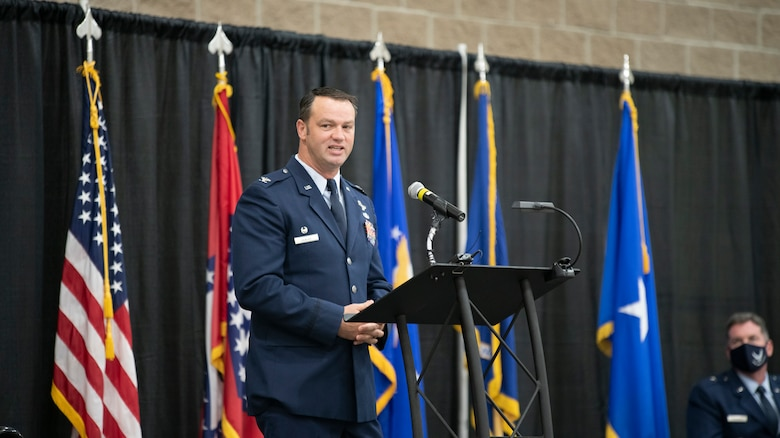 Col. Jeremiah Gentry addresses the audience at a 188th Wing change of command ceremony, Aug 7, 2021.