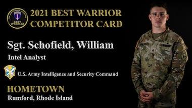 Intel Analyst, Sgt. William Schofield.