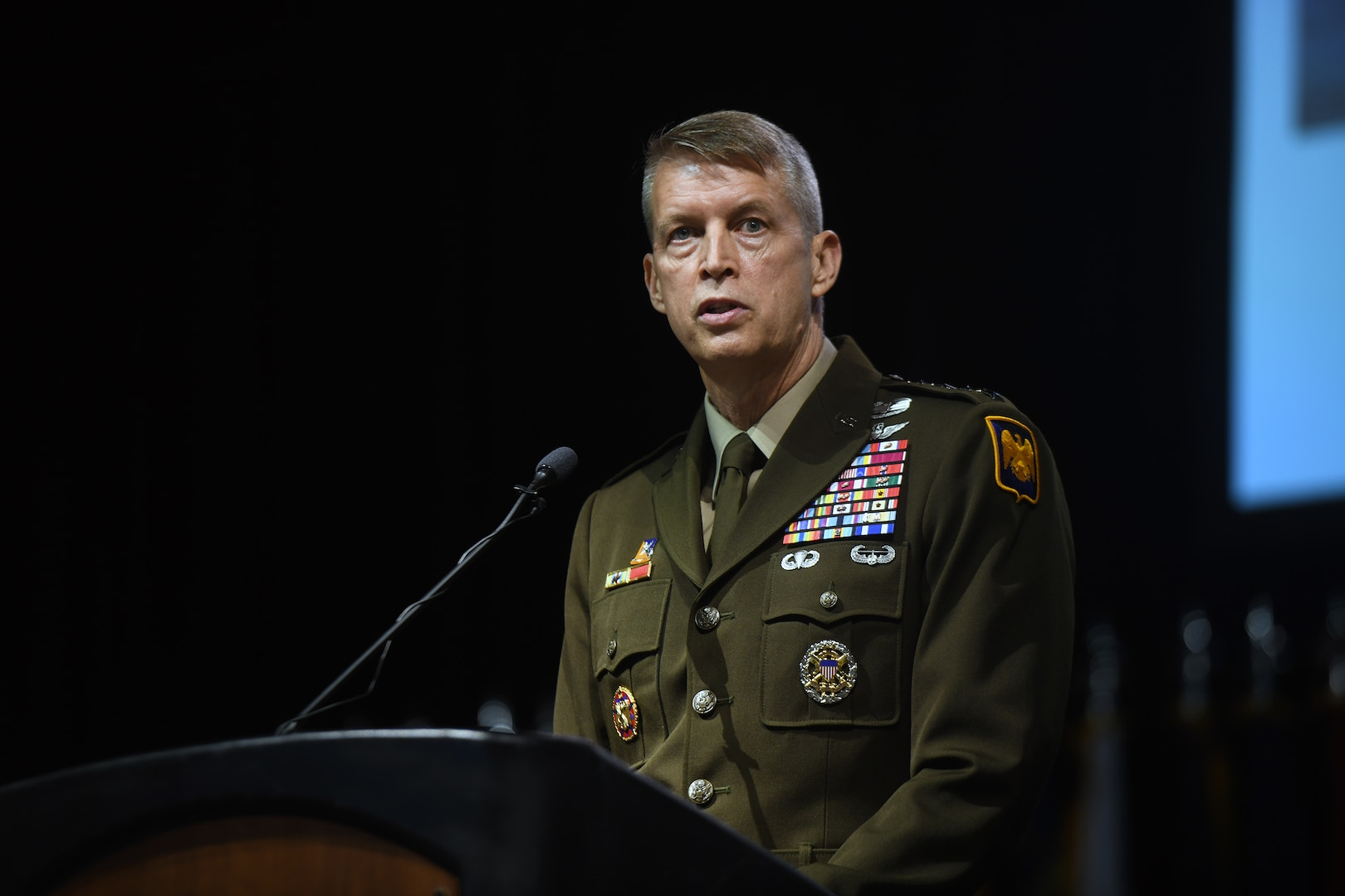 Army Gen. Daniel Hokanson, chief, National Guard Bureau, addresses the 50th annual conference of the Enlisted Association of the National Guard of the United States, Albuquerque, New Mexico, Aug. 8, 2021.