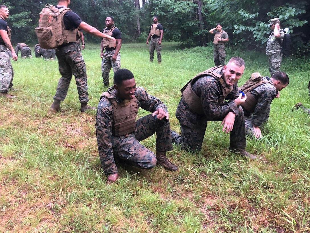 Marines of Headquarters Battalion conducting martial arts training.
