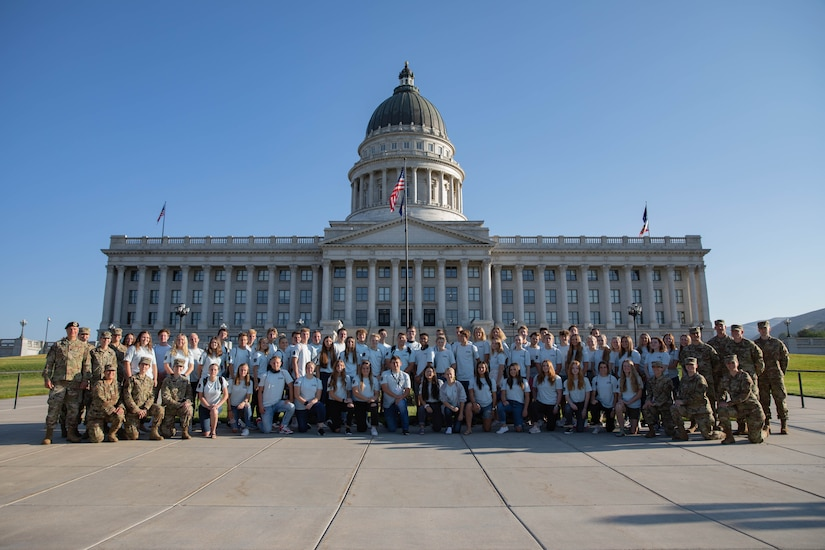 Freedom Academy delegates pose in front of the Utah State Capitol building