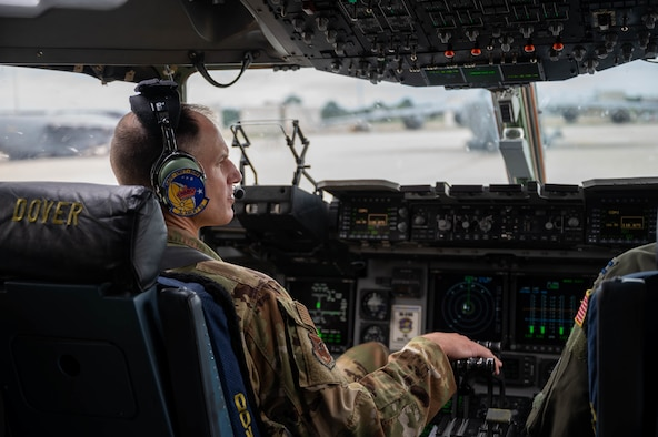 Col. Matt Husemann, 436th Airlift Wing commander, taxis a C-17 Globemaster III after a local training flight at Dover Air Force Base, Delaware, Aug. 4, 2021. The 3rd AS constantly trains to provide global reach with unique, outsized and oversized airlift capability. (U.S. Air Force photo by Senior Airman Faith Schaefer)