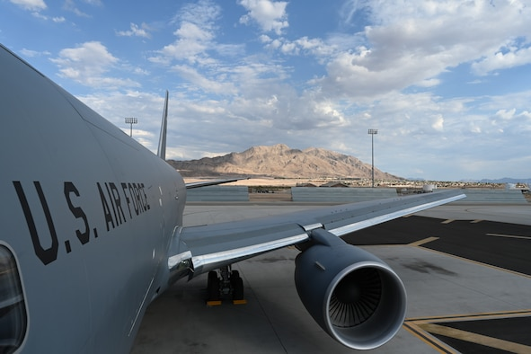 A KC-46A Pegasus from McConnell undergoes pre-flight inspections on the airfield July 20, 2021, at Nellis Air Force Base, Nevada.