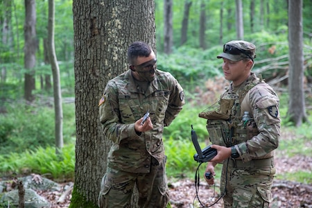 Cadet Carlos Vaquero, a third year USMA cadet selected to pilot the Soldier Borne Sensor (SBS), demonstrates the SBS to fellow cadets during the United States Military Academy (USMA) at West Point Cadet Leader Development Training (CLDT) in July.