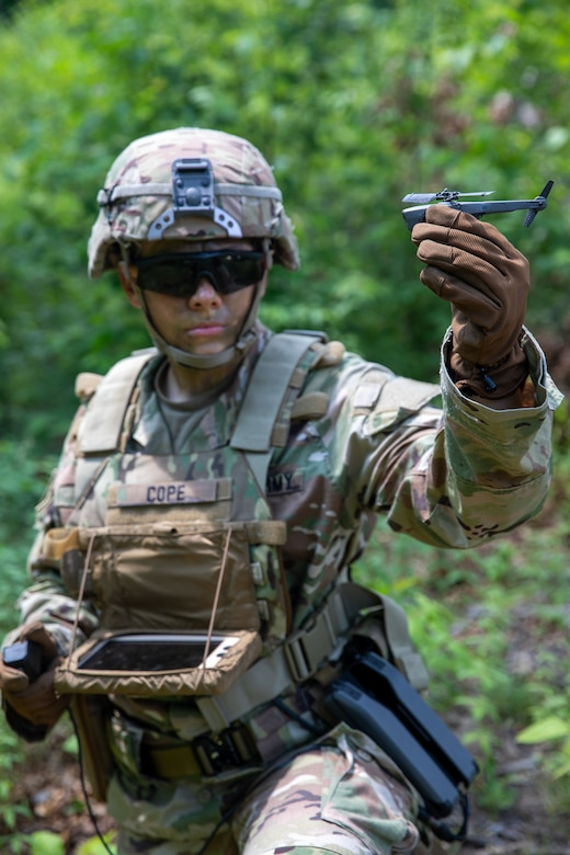 Cadet McKensey Cope, a fourth year USMA cadet selected to pilot the Soldier Borne Sensor (SBS), demonstrates the SBS to fellow cadets during the United States Military Academy (USMA) at West Point Cadet Leader Development Training (CLDT) in July.