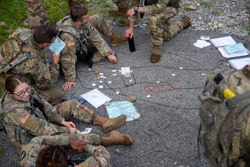 West Point Cadets conduct mission planning around a terrain model during the United States Military Academy (USMA) at West Point Cadet Leader Development Training (CLDT) in July.