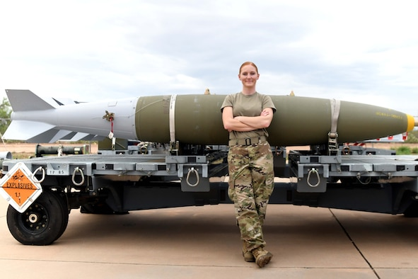 U.S. Air Force Staff Sgt. Kristy Riley, 924th Maintenance Squadron Munitions Flight combat plans training supervisor, poses for a photo at Davis-Monthan Air Force Base, Arizona, July 23, 2021. Riley was recently congratulated by Lt. Gen. Richard W. Scobee, chief of the Air Force Reserve and commander of Air Force Reserve Command, for becoming one of the Air Force's 12 Outstanding Airmen of the Year. (U.S. Air Force photo by Staff Sgt. Blake Gonzales)