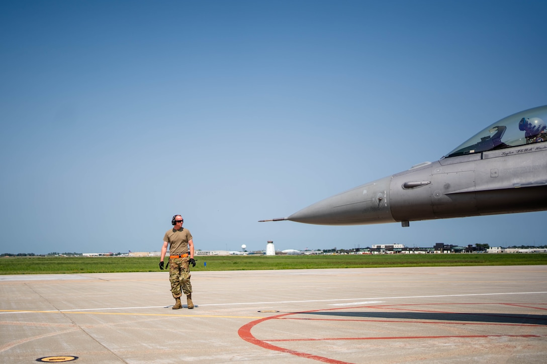 Tech. Sgt. Daniel Tribby, 114th Aircraft Maintenance crew chief, goes through launch procedures during the readiness exercise Aug. 9, 2021, Joe Foss Field, S.D.