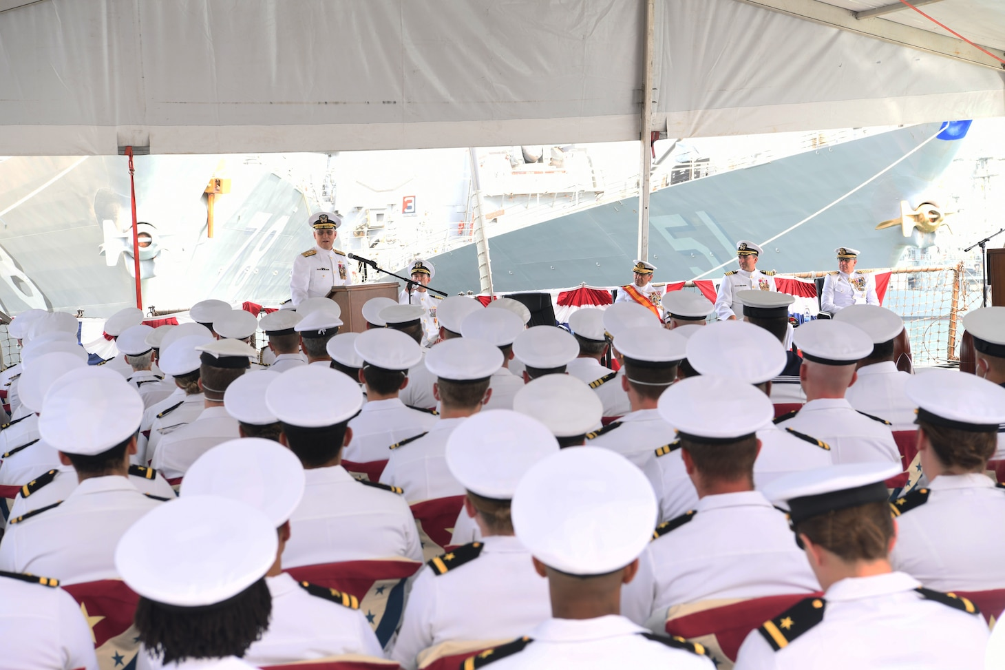 Vice Adm. Gene Black, commander, U.S. Sixth Fleet speaks at the Commander, Task Force (CTF) 65 change of command ceremony at Naval Station Rota, Aug. 10, 2019. Capt. Kyle Gantt relieved Capt. Joseph Gagliano as commodore CTF 65. CTF 65 and DESRON 60, headquartered in Rota, Spain, overseas the forward-deployed forces of U.S. Sixth Fleet's area of operation in support of regional allies and partners as well as U.S. national security interests in Europe and Africa.