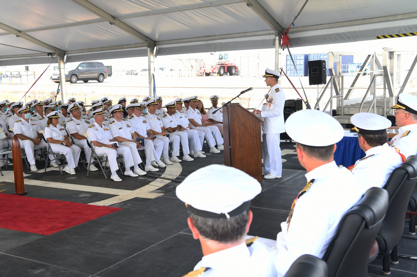 Capt. Joseph Gagliano speaks at the Commander, Task Force (CTF) 65 change of command ceremony at Naval Station Rota, Aug. 10, 2019. Capt. Joseph Gagliano was relieved by Capt. Kyle Gantt as commodore during a waterfront ceremony presided over by Vice Adm. Gene Black, commander, U.S. Sixth Fleet.  CTF 65. CTF 65 and DESRON 60, headquartered in Rota, Spain, overseas the forward-deployed forces of U.S. Sixth Fleet's area of operation in support of regional allies and partners as well as U.S. national security interests in Europe and Africa.