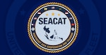 Logo of Southeast Asia Cooperation and Training (SEACAT). In its 20th year, SEACAT is a multilateral exercise designed to enhance cooperation among 21 participating Southeast Asian countries and provide mutual support and a common goal to address crises, contingencies, and illegal activities in the maritime domain in support of a free and open Indo-Pacific.