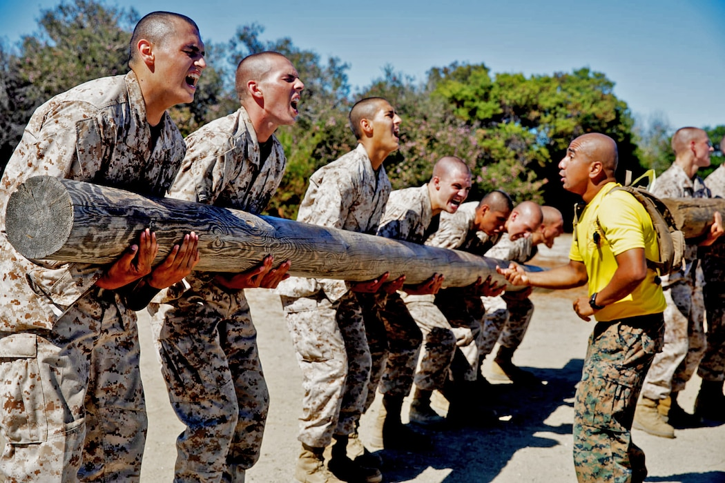 U.S. Marine Corps Sgt. Omar Bardalesramos, a drill instructor with Hotel Company, 2nd Recruit Training Battalion, Recruit Training Regiment, commands recruits to curl a log during log drills at Marine Corps Recruit Depot, San Diego, Aug. 2, 2021.