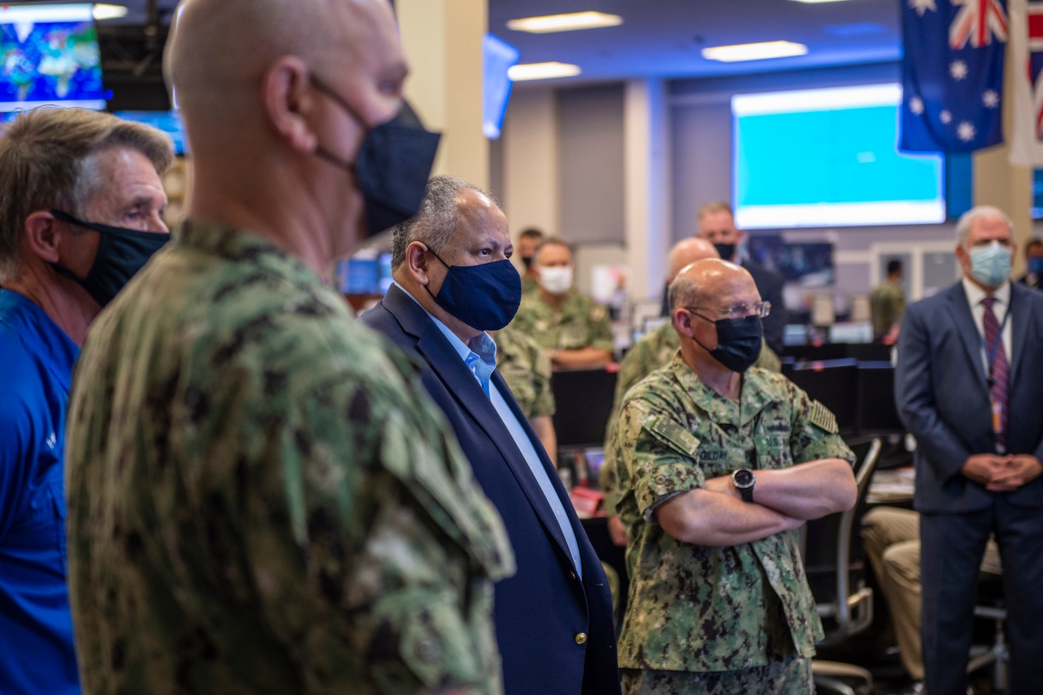 Adm. Christopher W. Grady, commander, U.S. Fleet Forces Command, center left, Secretary of the Navy Carlos Del Toro, center, Chief of Naval Operations Adm. Mike Gilday, and Virginia Representative Rob Wittman receive a brief at the Naval Warfare Development Command during Large Scale Exercise (LSE) 2021 in Adm. Christopher W. Grady, commander, U.S. Fleet Forces Command, center left, Secretary of the Navy Carlos Del Toro, center, Chief of Naval Operations Adm. Mike Gilday, and Virginia Representative Rob Wittman receive a brief at the Naval Warfare Development Command during Large Scale Exercise (LSE) 2021 in Norfolk, Va., August 10, 2021.