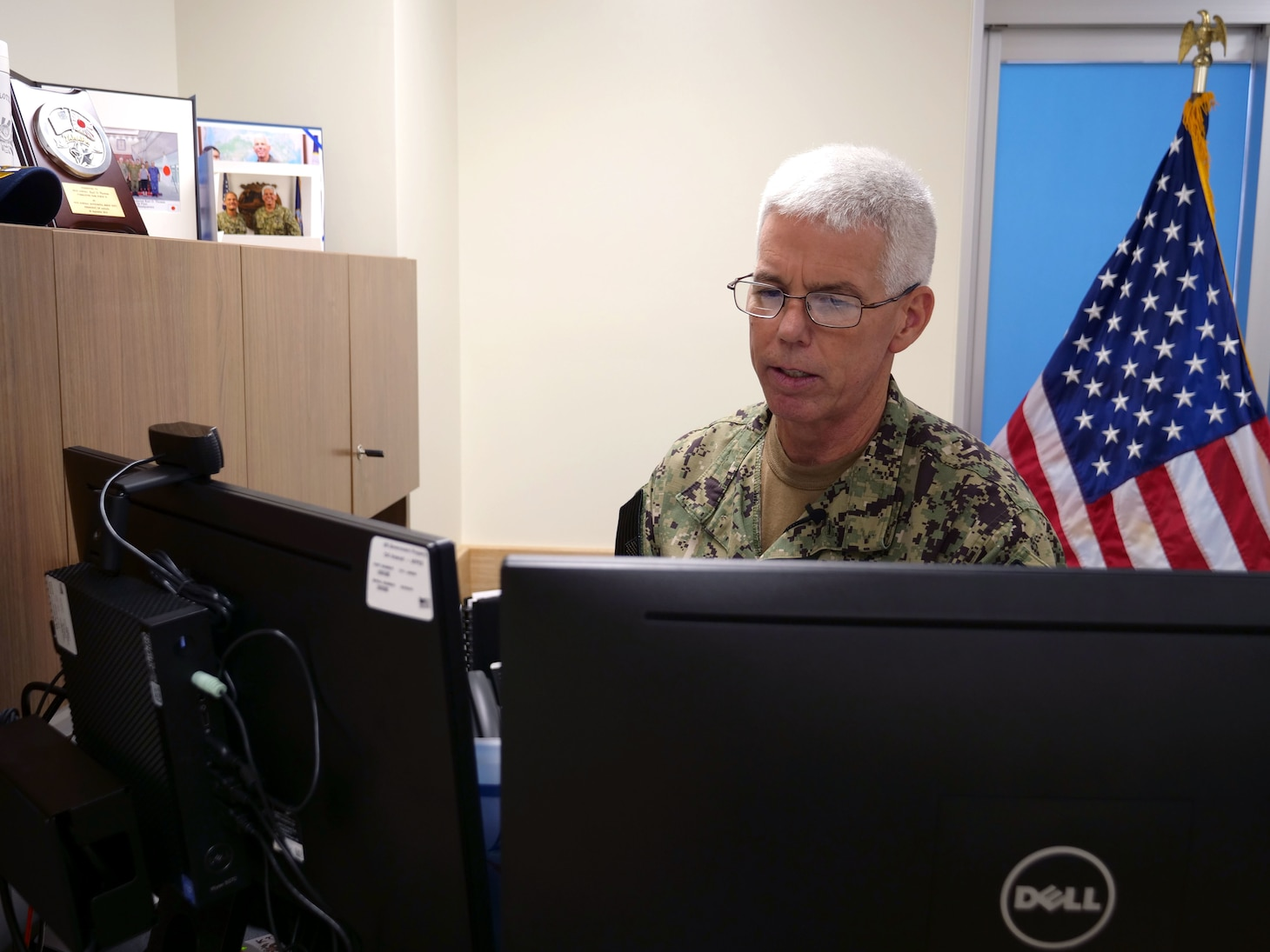 210810-N-IY633-1012 YOKOSUKA, Japan (Aug. 9, 2021) - Commander, U.S. 7th Fleet, Vice Adm. Karl Thomas, provides opening remarks during the Southeast Asia Cooperation and Training (SEACAT) 2021 virtual opening ceremonies, Aug. 10. In its 20th year, SEACAT is a multilateral exercise designed to enhance cooperation among 21 participating Southeast Asian countries and provide mutual support and a common goal to address crises, contingencies, and illegal activities in the maritime domain in support of a free and open Indo-Pacific. (U.S. Navy photo by Mass Communication Specialist 1st Class Amanda S. Kitchner)