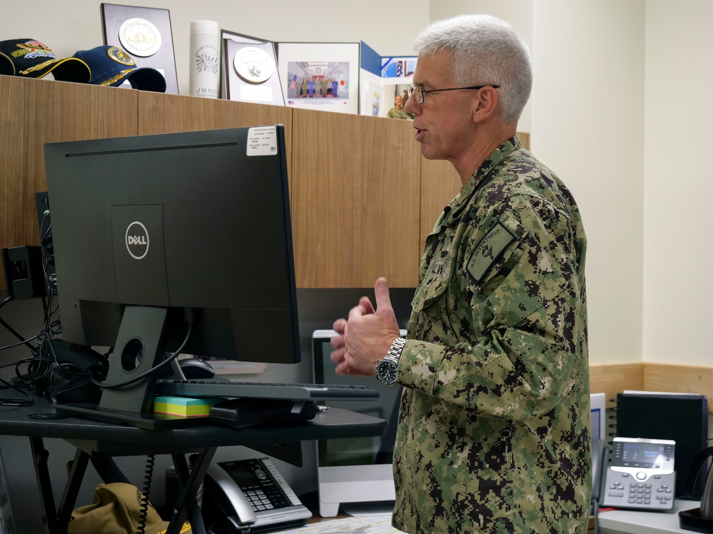 210810-N-IY633-1013 YOKOSUKA, Japan (Aug. 9, 2021) - Commander, U.S. 7th Fleet, Vice Adm. Karl Thomas, provides opening remarks during the Southeast Asia Cooperation and Training (SEACAT) 2021 virtual opening ceremonies, Aug. 10. In its 20th year, SEACAT is a multilateral exercise designed to enhance cooperation among 21 participating Southeast Asian countries and provide mutual support and a common goal to address crises, contingencies, and illegal activities in the maritime domain in support of a free and open Indo-Pacific. (U.S. Navy photo by Mass Communication Specialist 1st Class Amanda S. Kitchner)