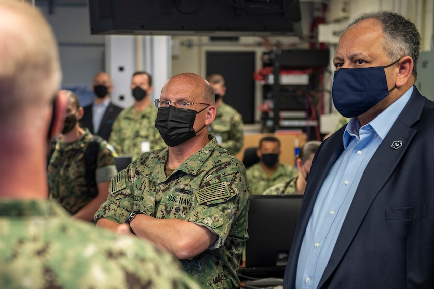 Vice Adm. Daryl Caudle, commander, Naval Submarine Forces, briefs Secretary of the Navy Carlos Del Toro and Chief of Naval Operations Adm. Mike Gilday during Large Scale Exercise (LSE) 2021 in Norfolk, Va., August 10, 2021.