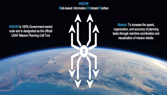 WIDOW graphic over Earth