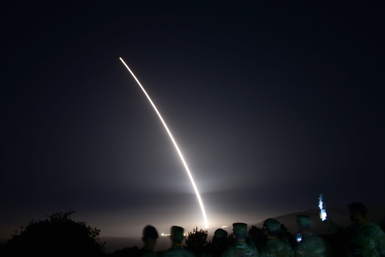 An Air Force Global Strike Command unarmed Minuteman III intercontinental ballistic missile launches during an operational test at 12:53 a.m. Pacific Time (Wednesday, August, 11, 2021), at Vandenberg Space Force Base, Calif. ICBM test launches demonstrate that the U.S. ICBM fleet is relevant, essential and key to leveraging dominance in an era of Strategic Competition. (U.S. Air Force photo by Airman First Class Tiarra Sibley)