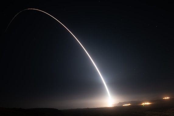 An Air Force Global Strike Command unarmed Minuteman III intercontinental ballistic missile launches during an operational test at 12:51 Pacific Time Wednesday, Aug. 11, 2021, at Vandenberg Space Force Base, Calif. ICBM test launches demonstrate that the U.S. ICBM fleet is relevant, essential and key to leveraging dominance in an era of Strategic Competition. (U.S. Space Force photo by Michael Peterson)