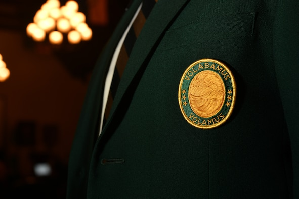 """Retired Maj. Gen. Jerrold Allen, Daedalian national commander, wears a jacket bearing the Daedalian crest during an event at the Maxwell Club on Maxwell Air Force Base, Alabama, July 22, 2021. The event was held to honor James """"Jimmy"""" Stewart's military service as an aviator and recognize him as a Daedalian Distinguished Colleague."""