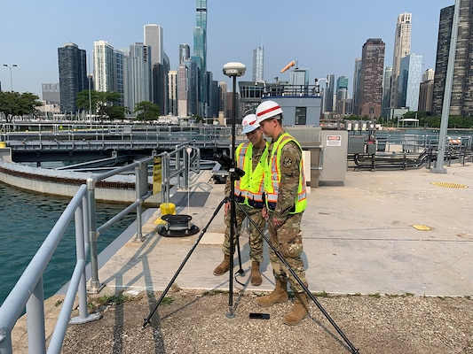Army Cadets Jacob Krause and Zackery Denning at the Chicago Harbor Lock, July 23, 2021.