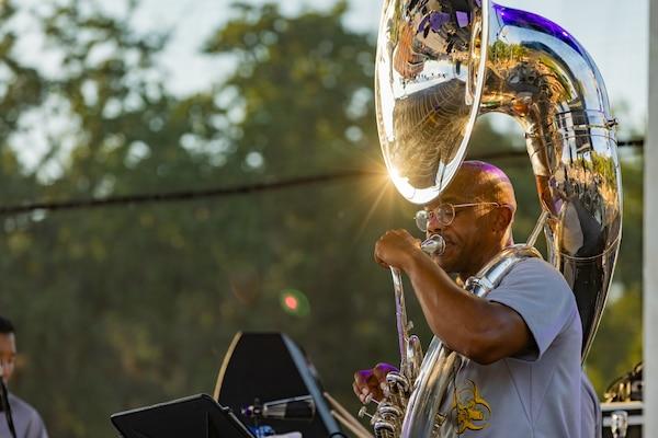"U.S. Army Staff Sgt. Corey J. Walton, member of U.S. Army North's 323d Army Band, ""Fort Sam's Own"", plays the tuba at Fiesta Fiesta, San Antonio, Texas, June 17, 2021."