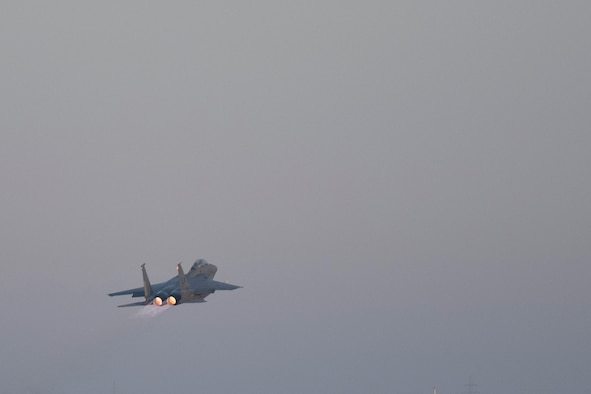 The 424th Expeditionary Fighter Squadron perform an exercise July 27, 2021, in an undisclosed location somewhere in Southwest Asia. The exercise tested the crews' speed and capability to respond to a simulated Unmanned Aircraft System threat. (U.S. Air Force photo by Senior Airman Cameron Otte)