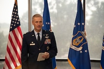 Commander gives speech during change of command