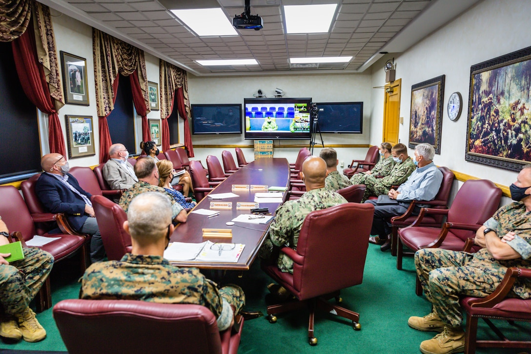 Senior leaders, staff and representatives from tenant commands of Marine Corps Base Camp Lejeune listen to remarks during the virtual 2021 Commander in Chief's Installation Excellence award ceremony at MCB Camp Lejeune, N.C., Aug. 11. The competitive presidential award recognizes exceptional performance by installations across the services for efforts to support mission accomplishment and improve work and life for service members, civilian employees and their families.