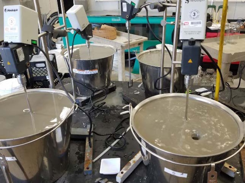 U.S. Army Engineer Research and Development Center researchers evaluate dredged material from the Houston Ship Channel Expansion Improvement Project with instrumentation in the Environmental Laboratory in Vicksburg, Mississippi, September 2018. The researchers evaluated the material from the 52-mile-long ship channel and modeled its potential environmental impacts using agreed-upon, site-specific modeling parameters in consultation with the Texas Commission on Environmental Quality.