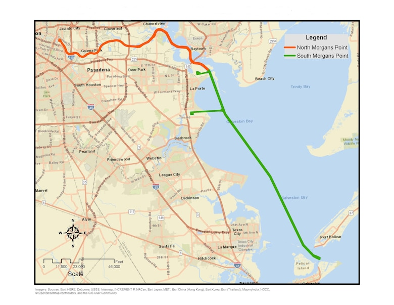 A map shows the length of the Houston Ship Channel and the area to be dredged in Houston, Texas. Dr. Cheryl Montgomery, a U.S. Army Engineer Research and Development Center Environmental Laboratory research biologist, led her team to reach a consensus with the Texas Commission on Environmental Quality that material dredged for the project would not pose a risk to human health and the environment.