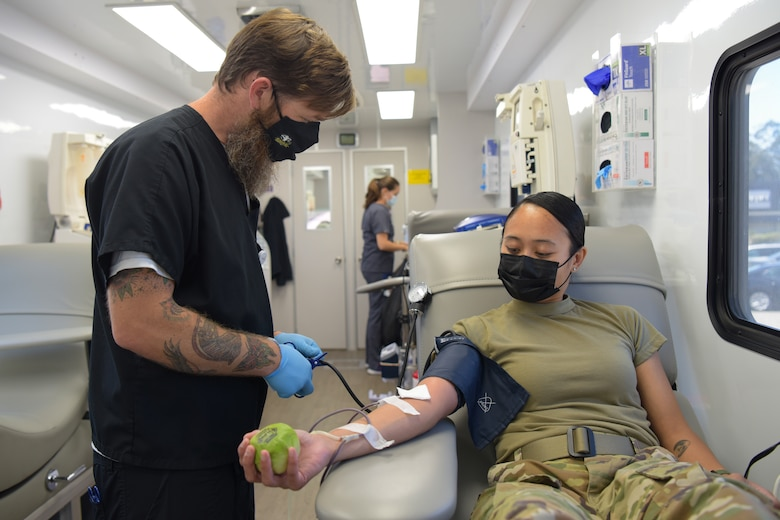 Community members come to Vitalant's mobile clinic to donate blood at the first blood drive since the start of the pandemic on Vandenberg Space Force Base, California, Aug. 10, 2021.