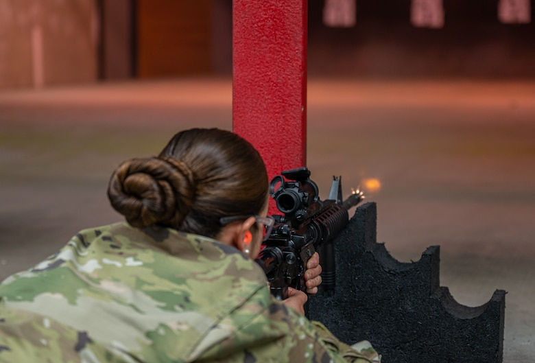 U.S. Air Force Senior Airman Daisy Valencia, 56th Security Forces Squadron defender, fires an M4A1 rifle during a weapons qualification course at the Combat Arms Training and Maintenance facility Aug. 3, 2021, at Luke Air Force Base, Arizona.