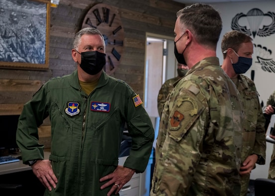 U.S. Air Force Lt. Gen. Brad Webb, commander of Air Education and Training Command, greets Airmen from the Survival, Evasion, Resistance and Escape water survival flight at Fairchild Air Force Base, Washington, Aug. 11, 2021. Webb's visit included immersions with the 336 TRG's SERE school, water survival training, 36th Rescue Squadron, and recognition of Air Force Special Warfare Airmen of the Year Award winners. SERE instruction concentrates on the principles, techniques and skills necessary to survive any environment, plus instructors conduct initial and follow-on training to all U.S. Air Force SERE specialists. (U.S. Air Force photo by Staff Sgt. Lawrence Sena)