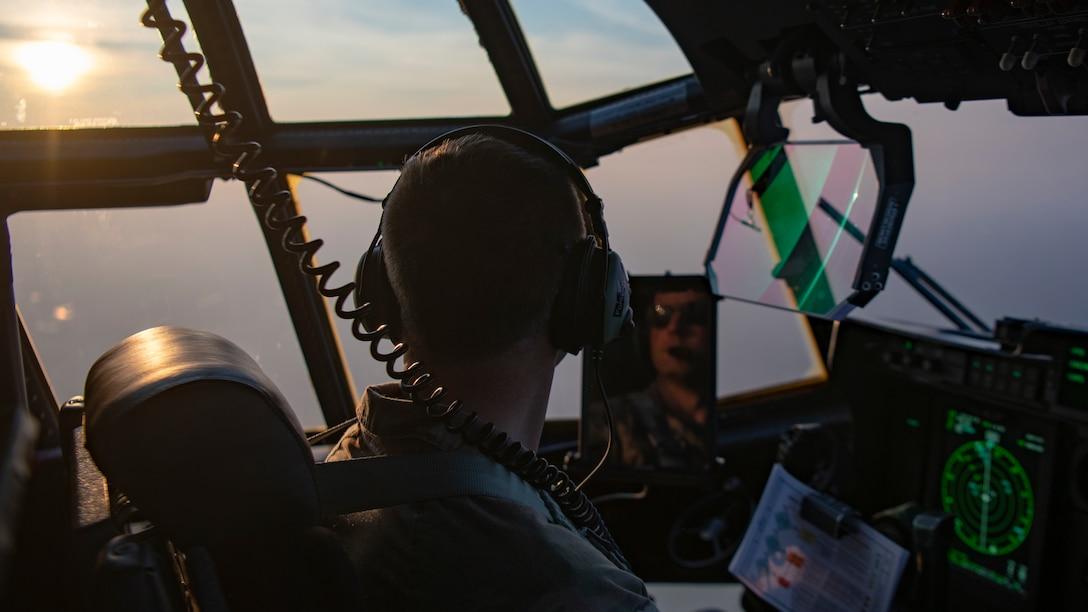 U.S. Air Force Maj. Jonathan Forsyth, a 492nd Special Operations Training Group Detachment 2 instructor pilot, flies an EC-130J Commando Solo during Operation Blood Rain near Eglin Range, Florida, Aug. 5, 2021.