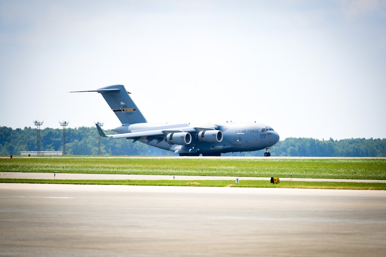 A trio of C-17 aircraft from Pittsburgh Air Reserve Station, Pennsylvania, was one of a trio of aircraft making use of the local runway and uncongested airspace for training.