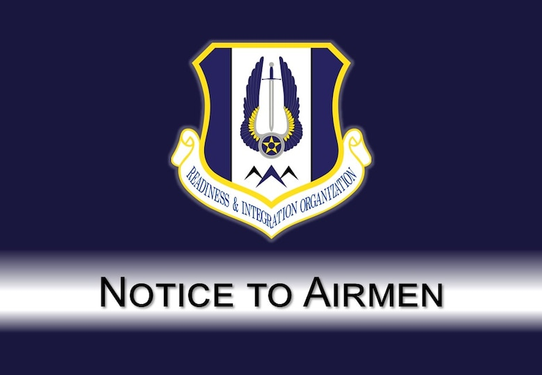 The graphic is a blue background with the HQ RIO shield and a white bar with Notice to Airmen in black.