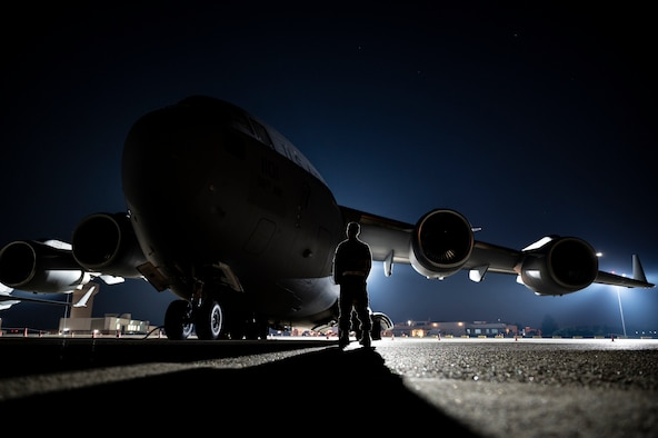 An Airman assigned to the 911th Aircraft Maintenance Squadron inspects a C-17 as part of Operation Steel Moose '21 at the Pittsburgh International Airport Air Reserve Station, Pennsylvania, Aug. 6, 2021. Operation Steel Moose '21 is a pre-deployment exercise designed to test the wartime capabilities of the 911th Airlift Wing.