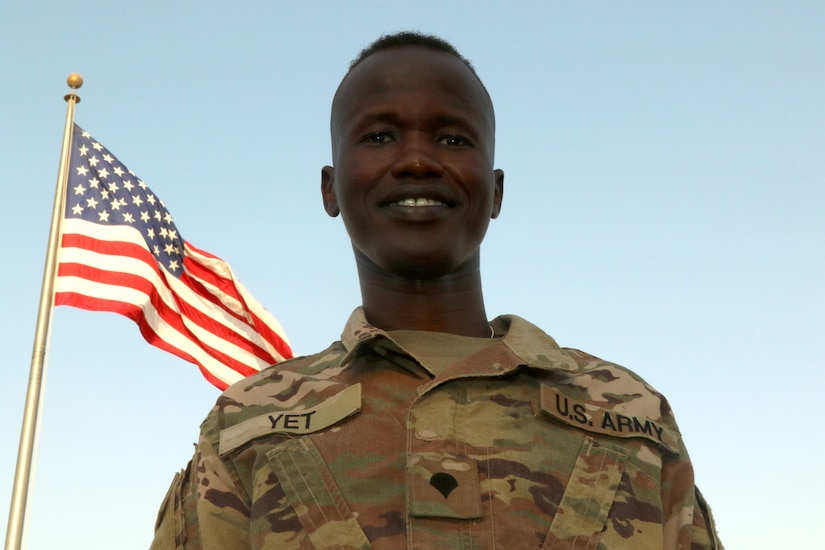 Unit Supply Specialist Spc. Fourtytwo Yet, an Iowa National Guardsman assigned to the 3654th Support Maintenance Company, was born in Southern Sudan before moving to the United States. He is currently working to pursue his dream of becoming an Army officer.  (U.S. Army photo by. Sgt. Marquis Hopkins)