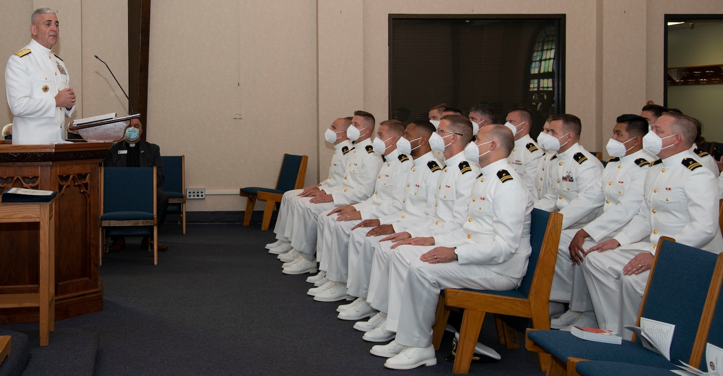 NEWPORT, R.I. (Aug. 4, 2021) Rear Adm. Gregory Todd, chaplain of the Marine Corps and deputy chief of chaplains, gives the graduation address during a graduation ceremony held in the Chapel of Hope, on Naval Station Newport, R.I., for students assigned to the Naval Chaplaincy School and Center in the Basic Leadership Course, class 21030.